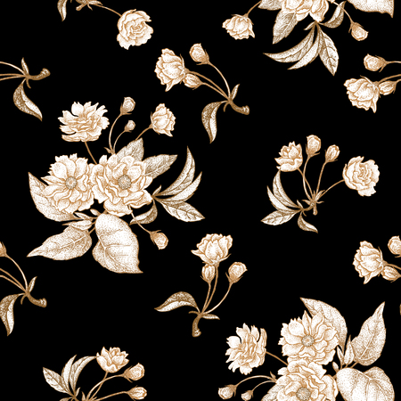 embossing: Chinese plum white flower. Seamless vector pattern with gold foil embossing on a black background. Vintage illustration. Illustration