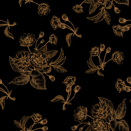 plum flower: Chinese plum flower. Seamless vector pattern with gold foil embossing on a black background. Vintage illustration. Illustration