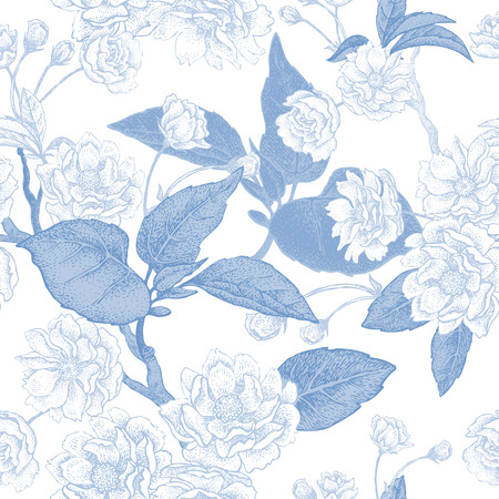 national fruit of china: Vector illustration floral seamless pattern. Branches, leaves and flowers of Chinese plum. Blue flowers on white background. The national flower of China. The design for paper, fabrics.