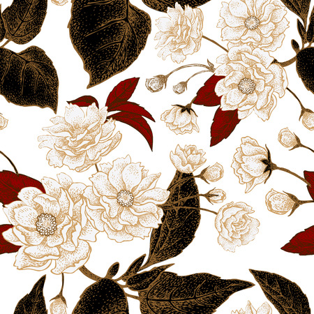Chinese plum flower. Seamless vector pattern with gold foil embossing. Vintage illustration. White, red and black.