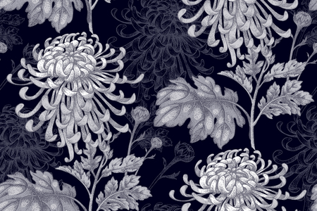 Flowers white chrysanthemum on a black background. Seamless pattern for a fabric, paper, wallpaper, textile, packaging, drapes. Vector illustration. Vintage.