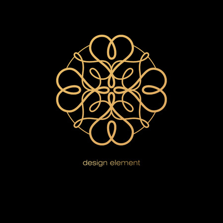 stamping: Vector abstract decorative rosette to create different designs. book covers, business cards, corporate identity creation. Illustration gold tracery element on a black background. Foil stamping.