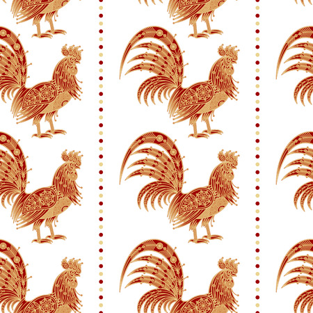 embossing: Fiery red rooster Zodiac sign in 2017. Seamless pattern. Embossing gold foil on white background. Design for packing Christmas gifts. Concept New Year symbols. Vector illustration.