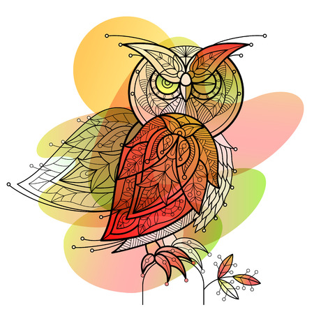 Bird owl. Decorative vector image for printing on T-shirts, bags, cases, phones, dishes, covers. Graphically black and white image and watercolor stains. Vector illustration.