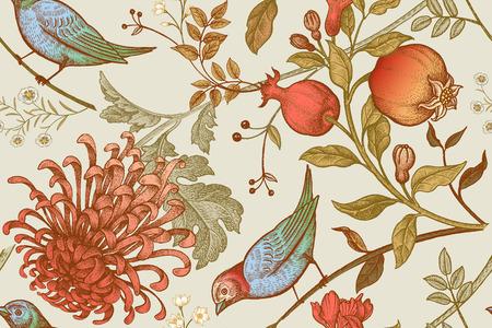 빈티지 일본 국화 꽃, 석류, 가지, 잎 및 새. 벡터 원활한 패턴입니다. 직물, 전화 케이스 용지, 선물 포장, 직물, 인테리어 디자인, 표지 삽화.