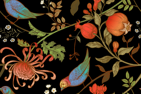 paper case: Vintage Japanese chrysanthemum flowers, pomegranates, branches, leaves and birds. Vector seamless pattern. Illustration for fabrics, phone case paper, gift packaging, textiles, interior design, cover.
