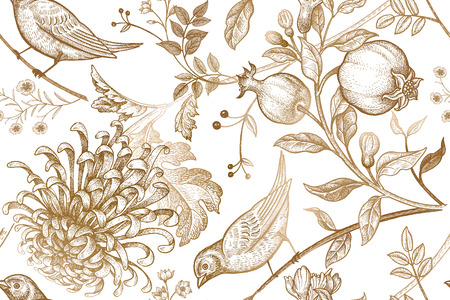 Vintage Japanese chrysanthemum flowers, pomegranates, branches, leaves and birds. Vector seamless pattern. Illustration for fabrics, phone case paper, gift packaging, textiles, interior design, cover.