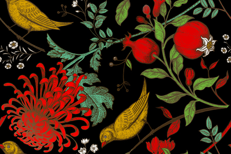 japanese chrysanthemum: Vintage Japanese chrysanthemum flowers, pomegranates, branches, leaves and birds. Vector seamless pattern. Illustration for fabrics, phone case paper, gift packaging, textiles, interior design, cover.