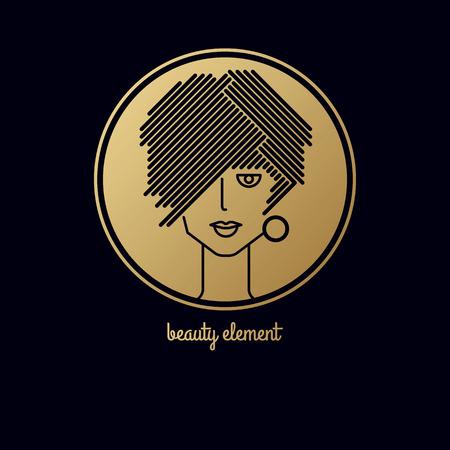 cabeza de mujer: Cabeza de mujer en un círculo. Vectores
