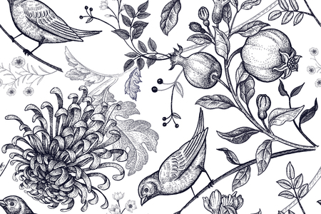 Vintage Japanese chrysanthemum flowers, pomegranates, branches, leaves and birds. Stock Illustratie