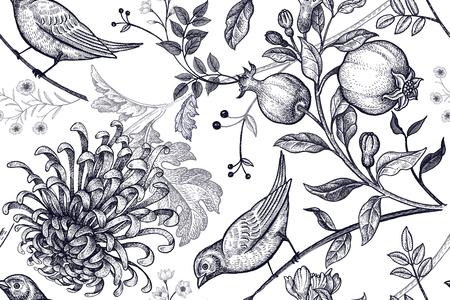 Vintage japonés crisantemo flores, granadas, ramas, hojas y pájaros.