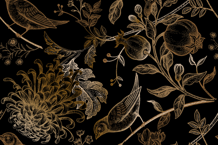 Vintage Japanse chrysant bloemen, granaatappels, takken, bladeren en vogels.