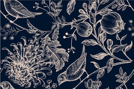 ヴィンテージ日本菊の花、ザクロ、枝、葉、鳥。