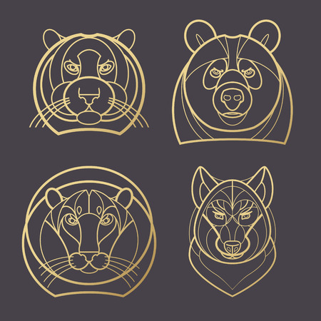 mono print: illustration predatory animals. Designed create icon in modern style mono line. Predatory animals tiger, lion, bear, wolf isolated on black background. Print gold foil. Symbol strength.