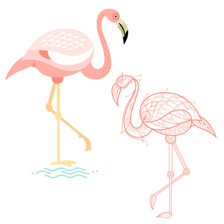 Bird Flamingo. Flat Icon And Template For Adult Coloring, Zen ...