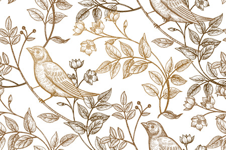 Vintage flowers, branches, leaves, birds. Print gold foil on a white background. Vector seamless pattern. Illustration for fabrics, phone case paper, gift packaging, textiles, interior design, cover. Vettoriali