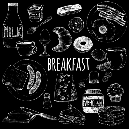 Food continental breakfast. White chalk on a blackboard. Vector doodle set. Hand drawings to create menu for cafe and restaurants.