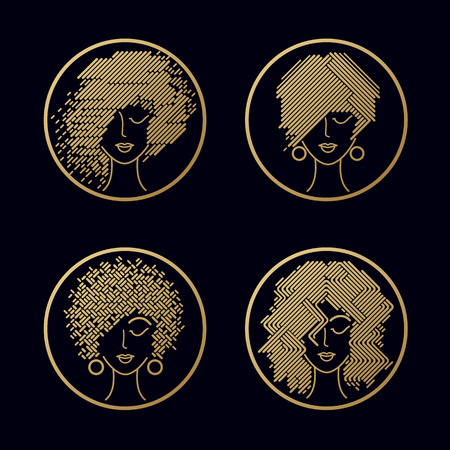 Women's hairstyles. Set of girls faces gold foil printing on black background in a circle. Vector illustration for design packing shampoo, hair cosmetics, hairdressing signage, flyers, advertising.
