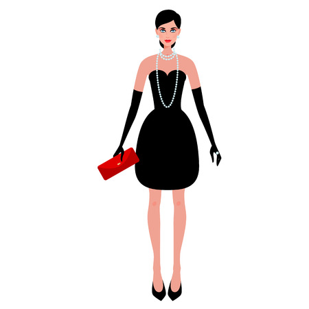 Cute fashionable girl on the evening of luxury glamor clothes. The stylish little black dress, clutch bag, pearls. Vector illustration of people isolated on white background. Vettoriali