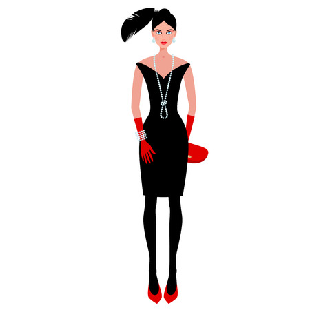 clutch: Cute fashionable girl on the evening of luxury glamor clothes. The stylish little black dress, hat, feather, clutch bag, pearls. Vector illustration of people isolated on white background.