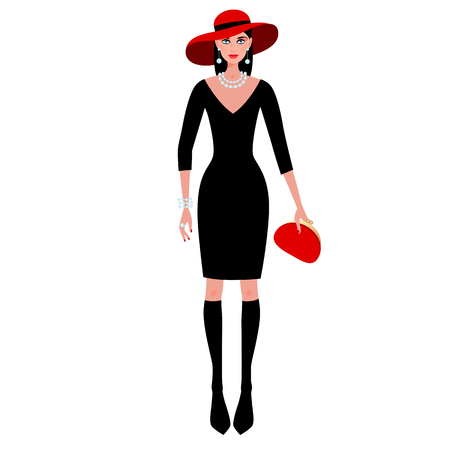 Cute fashionable girl on the evening of luxury glamor clothes. The stylish little black dress, hat, clutch bag, pearls. Vector illustration of people isolated on white background. Vettoriali