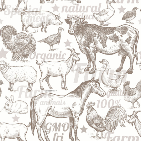 dobbin: Seamless pattern with livestock, poultry, inscriptions. Farm birds and animals in the style of vintage engraving. Vector illustration. Design for packaging farm products and  farm food shops.