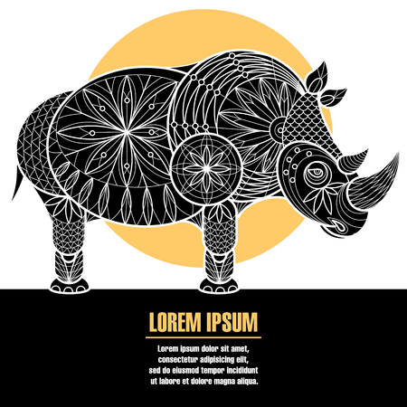 patten: Rhinoceros. The poster with the image of the animal. Vector patten illustration with space for text. Illustration
