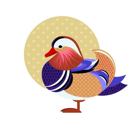 オシドリ。フラット図鳥のベクトル画像。野生の鳥の簡易設計。白い背景に分離された色のエキゾチックな鳥の図。水の鳥。