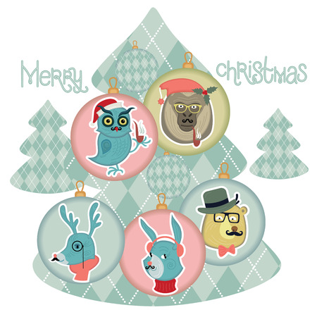 The phrase Merry Christmas. Christmas wildlife hipsters. Banners for design use Festive Christmas products. Vector.