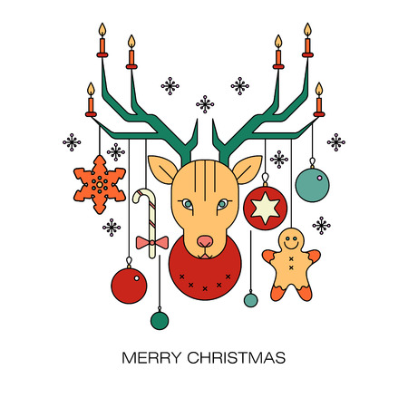 hombre flaco: Set of vector New Year and Christmas symbols isolated on a white background. Christmas design in the style of a mono line. Vectores