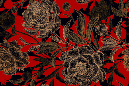 Flowers peonies. Seamless floral pattern for fabric, paper, wallpaper, curtains, wrapping. drawing art. Black, gold and red illustration. Oriental style. Vintage.