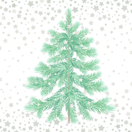 show plant: Christmas tree. Green spruce and silver snowflakes isolated on white background. Evergreen forest plants. illustration of a fir or pine for design holiday gifts, greeting cards, signs, posters