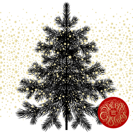 isolated tree: Christmas tree. Black spruce isolated on white background, inscription Merry Christmas and Happy New Year in red circle. illustration of fir or pine gold stars. Snow in the form of sequins. Illustration