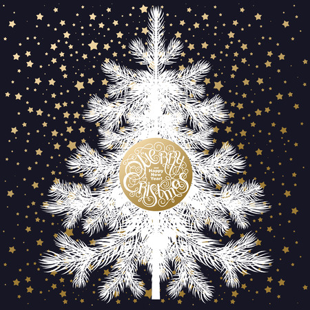 show plant: Christmas tree. White spruce isolated on black background, inscription Merry Christmas and Happy New Year and gold snowflakes. illustration of fir or pine. Snow like glitter.