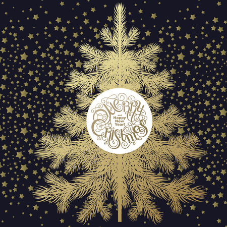 show plant: Christmas tree. Gold spruce isolated on black background, inscription Merry Christmas and Happy New Year in white circle. illustration of fir or pine and gold stars. Snow like glitter. Illustration