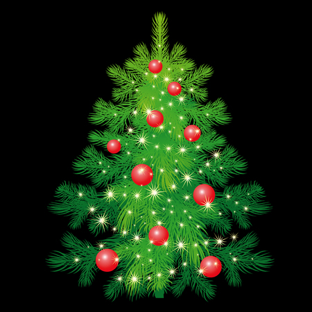 show plant: Christmas tree with decorations. Green spruce isolated on black background. Evergreen forest plants. illustration of a fir or pine. Template for design holiday gifts, greeting cards, signboard. Illustration