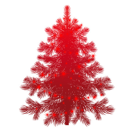 show plant: Unusual Christmas tree. Red pine and glittering garlands. Isolated plant on a white background. illustration art. Template for design holiday gifts, greeting cards, signboard, signs, posters Illustration