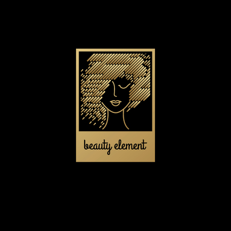 gold woman: Face of a pretty girl with stylish hairstyle. Female head in a square. Design elements of cosmetic products. Print with gold foil on a black background. illustration. Modern linear style. Illustration