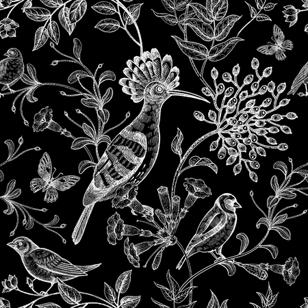 Birds and flowers illustration. Unusual motives of nature oriental style. Seamless pattern with image of animals and plants for design of fabrics, paper. Vintage art. White chalk on blackboard.
