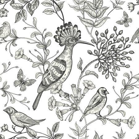 새와 꽃 그림입니다. 자연 동양 스타일의 비정상적인 동기. 동물 및 식물 직물, 종이의 디자인에 대 한 이미지와 원활한 패턴. 빈티지 예술입니다. 흰색