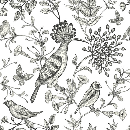 Birds and flowers illustration. Unusual motives of nature oriental style. Seamless pattern with image of animals and plants for design of fabrics, paper. Vintage art. Black on white background.