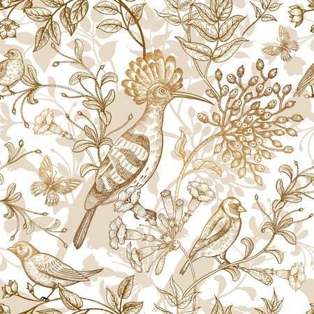 Birds and flowers vector illustration. Unusual motives of nature oriental style. Seamless pattern with image of animals and plants for design fabrics, paper. Vintage art. Gold foil on white background