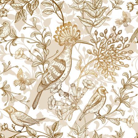 Uccelli e fiori illustrazione vettoriale. motivi insoliti della natura stile orientale. Seamless pattern con immagini di animali e piante per tessuti di design, carta. Arte Vintage. lamina d'oro su sfondo bianco Archivio Fotografico - 70130631
