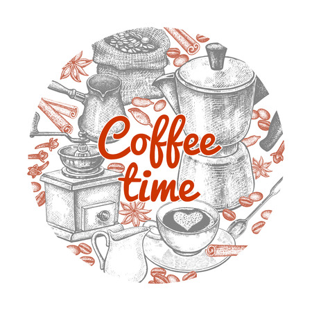 Coffeepot, cezve, coffee grinder, cup, milk jug, dessert spoon, coffee beans, phrase coffee time.  Vintage hand drawing. Composition in circle. Vector illustration design cover, posters, advertising