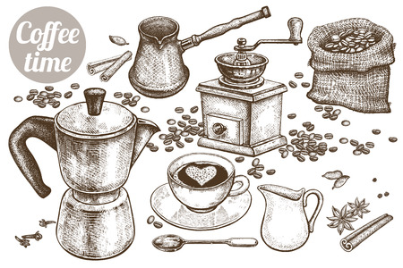 """Hand drawing illustration """"Coffee time"""". Coffeepot, Turkish cezve, coffee-grinder, cup, milk jug, dessert spoon, coffee beans, spices cinnamon and star anise isolated on white background. Vintage art."""