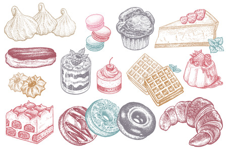 Desserts and sweets color isolated on white background. Hand drawing illustration vector. Cheesecake, macaroons, meringues, muffin, waffles, donuts, croissant, cakes,  cookies, eclair, tiramisu. Ilustrace