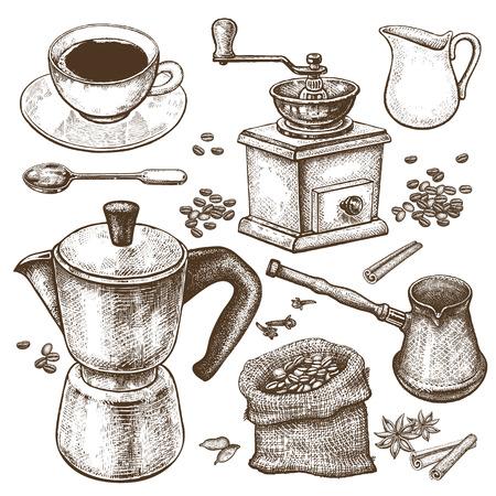 disegno a mano illustrazione tempo del caffè. Caffettiera, ibrik turco, coffee-grinder, coppa, brocca di latte, un cucchiaio da dessert, chicchi di caffè, spezie cannella e anice stellato isolato su sfondo bianco. Arte Vintage.