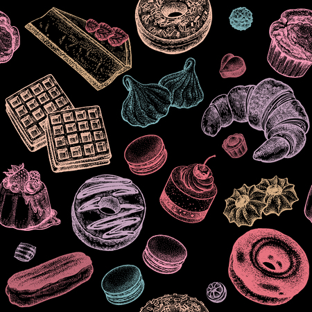 sweetshop: Donuts, eclairs, cakes, croissants, waffles, muffins, cheesecakes, biscuits, cookies, meringue. Seamless vector pattern. Vintage illustration food on black background. Hand drawing of sweets, desserts