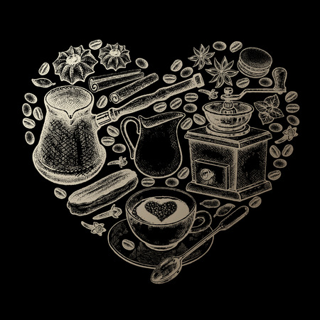 Delicious coffee heart. Cup of coffee, grinder, milk jug, coffee beans, Turkish ibrik, eclairs, cookies gold foil on black background. Illustration