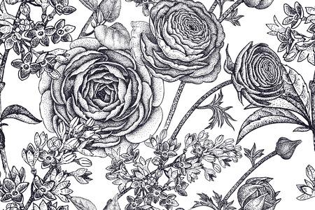 Spring flowers seamless floral pattern hand drawing garden plants spring flowers seamless floral pattern hand drawing garden plants buttercup lilac black on mightylinksfo